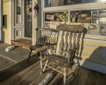 Rocking chair on the porch at the Templeton Country Store on the common in Templeton, Massachusetts