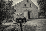old, barn, Princeton, MA, New England, country, agriculture, black and white, sheep, graze, field, farm