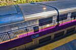 Commuter rail train at the Wachusett Station in Fitchburg, MA