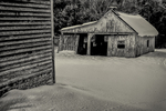 Old barn and garage at the Bullitt Farm in Ashfield