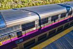 MBTA train in Fitchburg, MA