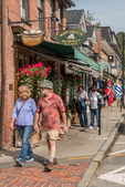 People walking along Main Street in Concord, MA