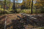 A picnic table at the Birch Hill Dam