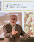 Congressman Jim McGovern from Massachusetts talking to a group at the Community Harvest Project about the importance of their work