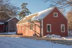 A red barn in Old Deerfield Village in Deerfield, MA