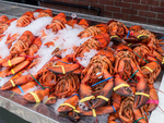 Lobster ready for sale at a coastal market
