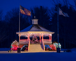 A band stand decorated for Christmas in Hubbardston, MA