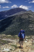 A hiker on the trail from Mt Eisenhower to Mt Washington