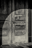 A shadow on a door to Bagg Hall (Town Hall) in Princeton, MA