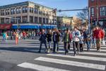 People crossing Main Street in Northampton, MA