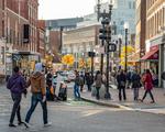 People crossing the street in Harvard Square, Cambridge, MA