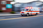 Ambulance speeding to the hospital in Worcester, MA