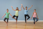 Young girls in a yoga class