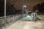 Snow falling at Wachusett Station in Princeton, Massachusetts