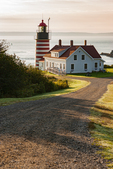 West Quoddy Head Lighthouse on the seacoast in Lubec, Maine