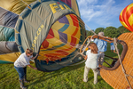 Getting the hot air balloons ready for flight at the Green River Festival in Greenfield, Massachusetts