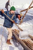 Ice harvesting at Hancock Shaker Village, Pittsfield, Massachusetts