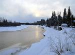 River Snowscape Fairbanks Alaska