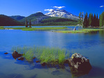 LF 180.  Sparks Lake and the South Sister at sunset.  Early Summer.  Three Sisters Wilderness, OR
