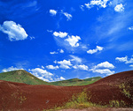 MF 33.  Clouds drift over the Painted Hills on a spring day.  John Day Fossil Beds National Monument, OR