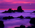 MF 40.  Moonset at dusk at Ecola State Park, Northern Oregon Coast