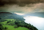 SF 937.  Storm clouds over the Columbia River, from well above the Washingtion State side.  Columbia River Gorge National Scenic Area, WA and OR
