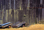 MF 397.  Old ranch carts lie unused next to a barn in the coastal ridges of Sonoma County, CA