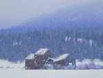 LF 206.  The Whitney Sawmill during a snow storm in the ghost town of Whitney, OR