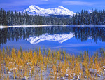 LF 237.  The Three Sisters reflect into Scott Lake at early fall.  Three Sisters Wilderness, OR