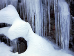 LF 312.  Icicles and snow on a cliff in the Blue Mountains.  Wallowa-Whitman National Forest, OR