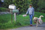 SF 628.  A boy and his dog deliver the afternoon newspaper.  Eugene, OR