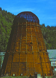 SF 2032.  Rusting, out of service cone burner.  Douglas County, OR