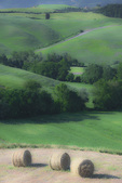 D3X 10.  Baled hay atop a plateau amidst rolling hills in a rural farming belt of Tuscany, Italy