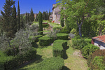 D3X 26.  A private garden within the walled medieval city of San Gimignano at springtime.  Tuscany, Italy
