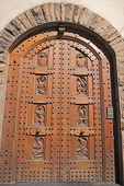 D3X 61.  An elegantly hand carved door of a private home in the center of Florence, Tuscany, Italy