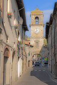D3X 85.  The main thoroughfare through the hilltop village of San Miniato.  Tuscany, Italy