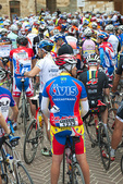 D3X 95.   Bicycle racing teams forming up in the main square of San Gimignano. Tuscany, Italy