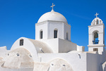 D3X 102.   Greek Orthodox Church and bell towers near the village of Castelli, Santorini, Greece