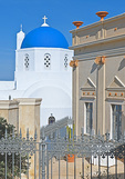 D3X 107.  A restaurant sits slightly above a Greek Orthodox Church in the village of Castelli.  Santorini, Greece
