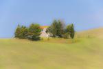 D3X 112.  A ridgetop Tuscan farmhouse perches atop a field of wheat.  Tuscany, Italy