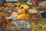 D800e 80.  Dried fruits and nuts on display at the weekly farmer's market in St. Remey de Provenc.  Provence, France.