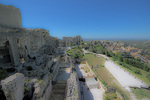 D800e 22 PI.  A wide angle view of most of the fortifications and the original village at Les Baux.  The Alipilles Mountains, Provence, France.