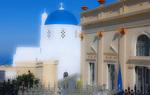 D3X 182 PI.  A Greek Orthodox Church in the village of Castelli on the island of Santorini, Greece