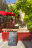 D800e 125.  A cafe in downtown St. Remy de Provence ready for lunch.  Provence, France, Europe