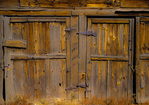 SF 608 PI.  Old pine doors of a barn in Chama, NM
