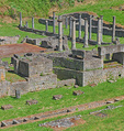 D3X 207.  Roman columns stand amidst the excavated remains of buildings in the Roman Theater, Volterra, Tuscany, Italy