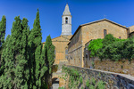 D800e 289.  The Chiesa e Chiostro di S. Francesco with bell tower.  Pienza, Val d'Orcia, Tuscany, Italy.