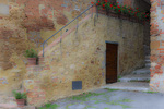 D800e 298.  A set of stairways adjacent to an apartment. Pienza, Val d'Orcia, Tuscany, Italy.