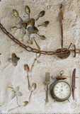 D800e 307.  An assemblage by a local artist.  Pienza, Val d'Orcia, Tuscany, Italy.