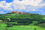 D800e 357. A dynamic sky moves over Pienza. Val d'Orcia, Tuscany, Italy.